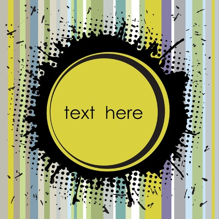 vintagern: Abstract round frame with ink drops and place for text.