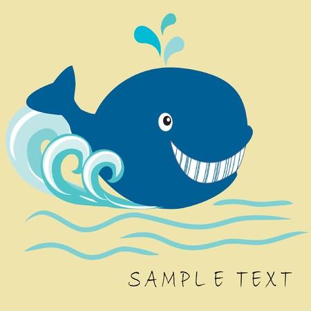 cetaceans: Happy whale. illustration.