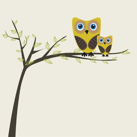 two parent family: Owls couple on the tree