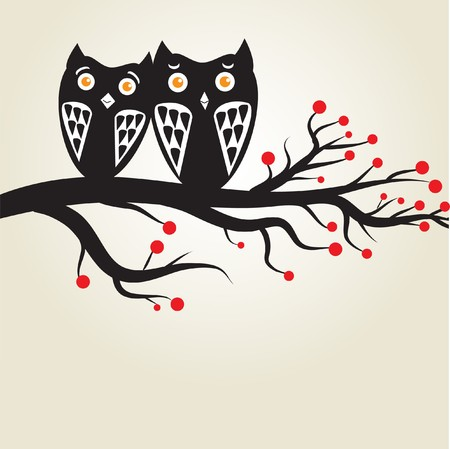 Owls couple on the tree. photo