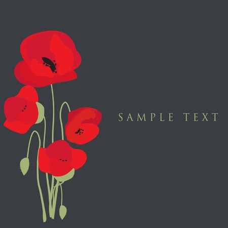 rnart: Poppy flowers. Design for greeting card Stock Photo