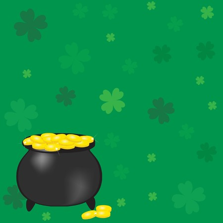 Pot with gold coins photo