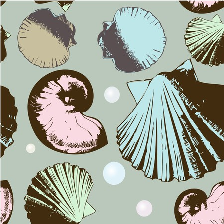 Seamless pattern with retro shells  photo