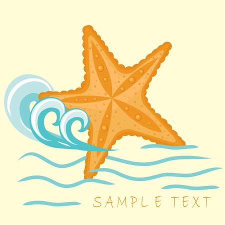etoile de mer: Starfish. Summer card.