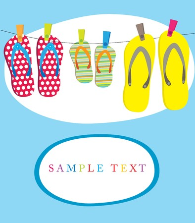 footware: Summer card with family flip-flops