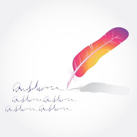 a literary sketch: Multicolored feathers and text