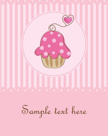vintagern: Birthday card with pink cupcake Stock Photo