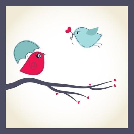 かわいい鳥のカップルとグリーティング カード 写真素材