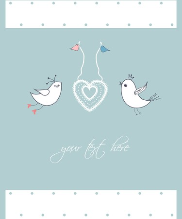 Vintage card with cute birds Stock Photo - 8144034