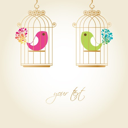 serenade: Cute birds in golden cages Stock Photo