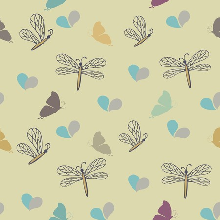 Seamless pattern with dragonflies and butterflies  photo