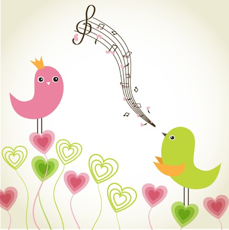Greeting card with cute birds couple in love  photo