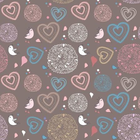 Seamless pattern with birds and hearts  photo