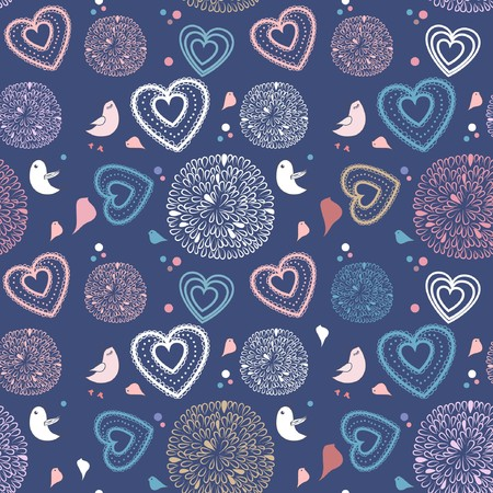 Seamless pattern with birds and hearts Stock Photo - 8144085