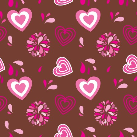 Vintage seamless background with hearts and flowers Stock Photo - 8144059