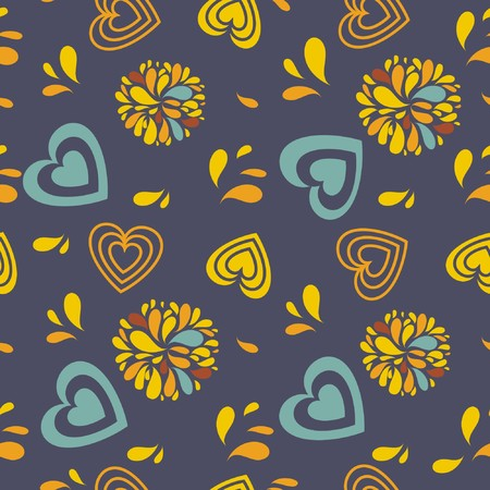 Seamless pattern with hearts and flowers Stock Photo - 8144070