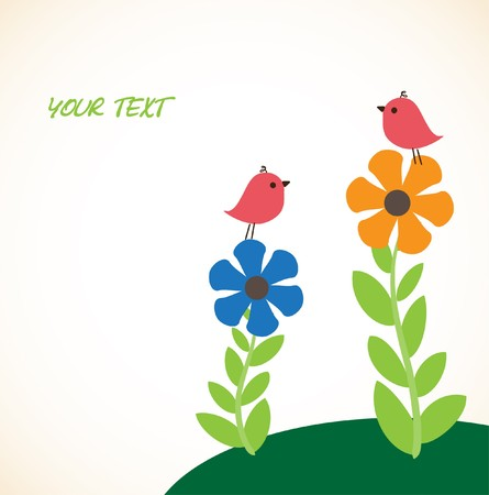 Illustration of two cute birds on the flowers Stock Illustration - 8195331