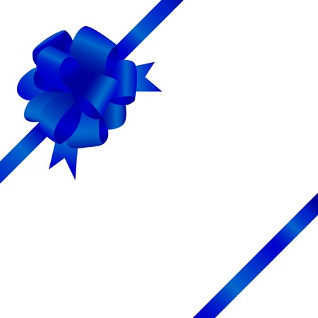 Greeting card with blue satin bow and ribbon  photo