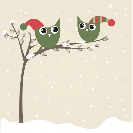Christmas Greeting Card mit Vögeln  Standard-Bild