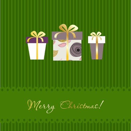 Christmas greeting card design with multicolored gifts boxes Stock Photo - 8195355