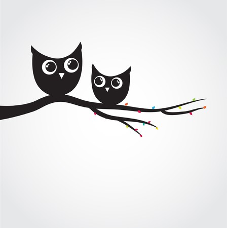 Two cute owls on the tree branch Фото со стока - 8195299