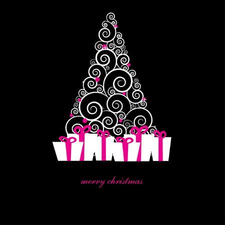 黒の背景にホリデー ツリーとクリスマス カード