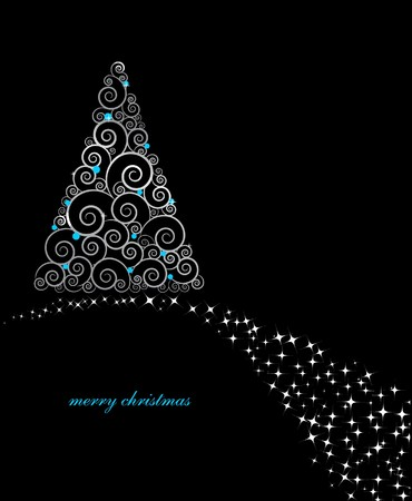 traditional silver wallpaper: christmas card with holiday tree on black background