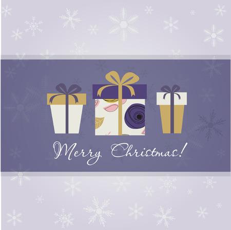 three gift boxes: Tarjeta de Navidad con tres cajas de regalo sobre fondo violeta