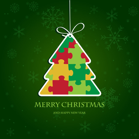 Christmas tree from jigsaw puzzle  Vector