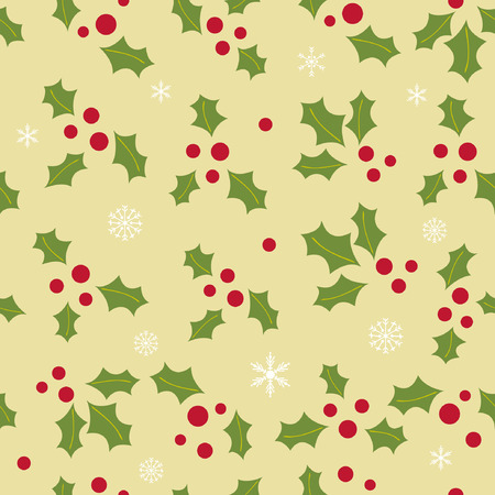 Seamless background with holly berry and snowflakes Vector Illustration