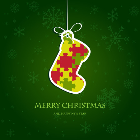 Christmas stocking from jigsaw puzzle Vector