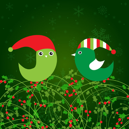 Birds couple on the holly berry branch. Holiday greetings card  Vector