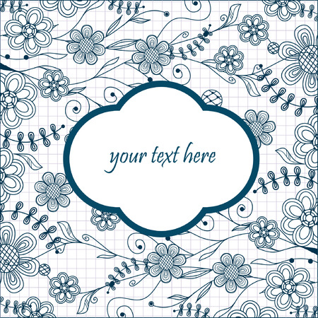 Hand drawn vector illustration with flowers and place for text.