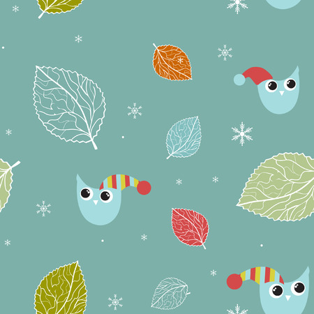 Seamless xmas pattern with owls and snowflakes  Vector