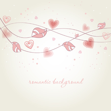 Romantic background with heart flower branch.  Stock Vector - 8392674