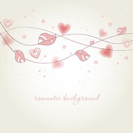 hart bloem: Romantische achtergrond met hart bloem tak.