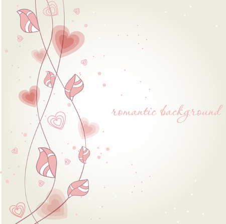 wed beauty: Romantic background with heart flower branch.