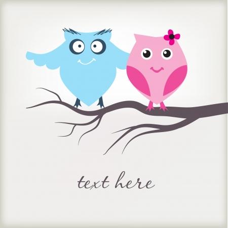 Cute owls couple in love Фото со стока - 8437411
