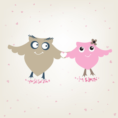serenade: Cute owls couple in love