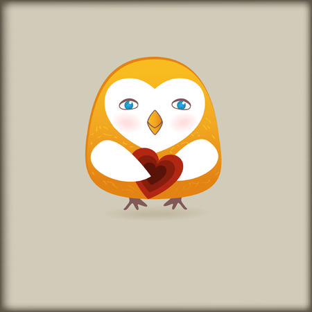 Cute owl bird with heart  Stock Vector - 8437414