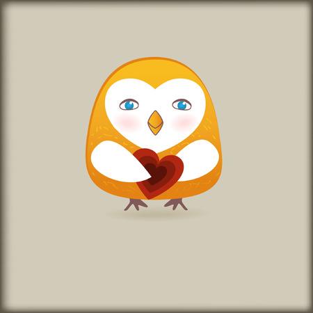Cute owl bird with heart Stock Vector - 8437414