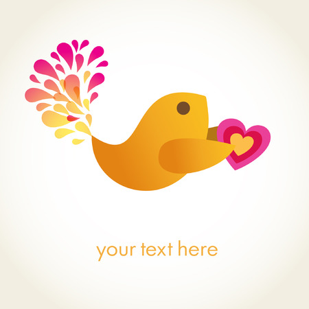 Cute bird with heart Stock Vector - 8550937