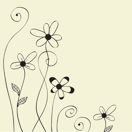 Vector card with hand drawn flowers  Vector