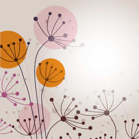 flower banner: Vector card with hand drawn flowers