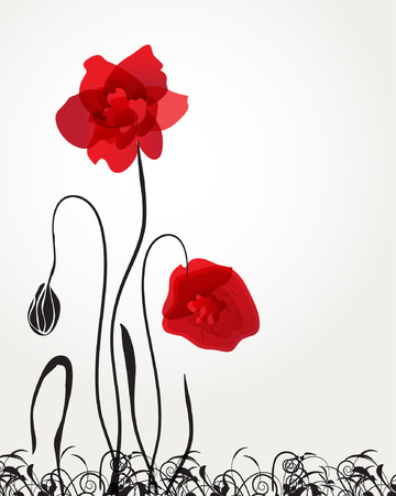 Abstract red poppies. Vector illustration  Vector