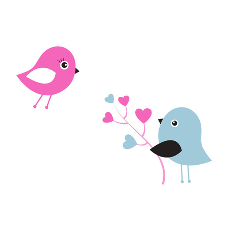working animals: Two cute birds  Illustration