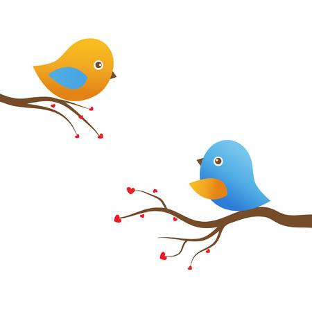 Two cute birds  Illustration