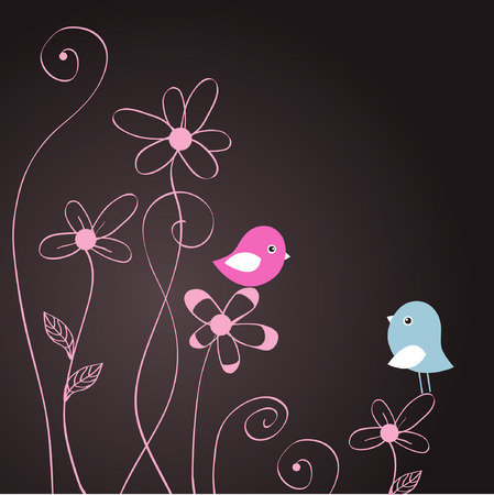 serenade: Two cute birds  Illustration