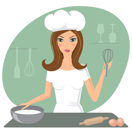 Beautiful housewife cooking omelet  Ilustração