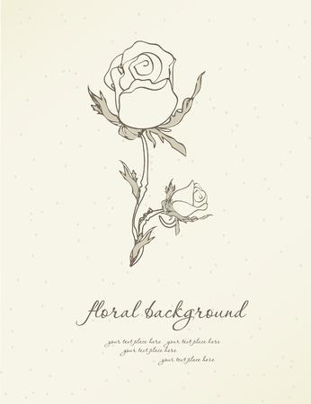 회색 배경에 흰색 장미와 빈티지 인사말 카드 벡터 (일러스트)